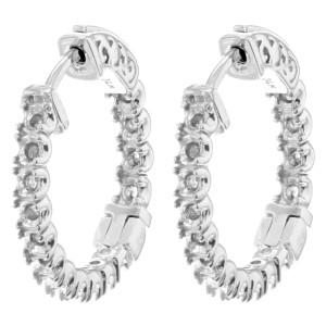 Rachel Koen 21x21mm 14K White Gold In And Out Cast Hoop Ladies Earring