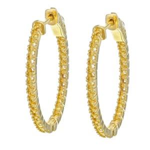 Rachel Koen 30x23mm 14K Yellow Gold Oval Hoop Ladies Earring