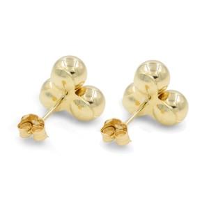 Rachel Koen Triple Ball Gold Stud Earrings 14K Yellow Gold