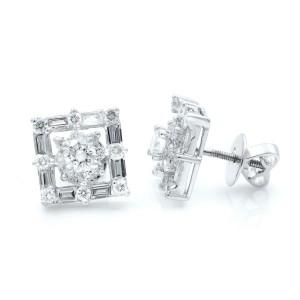 Rachel Koen 18K White Gold Square Shaped Diamond Stud Earrings 0.77cts