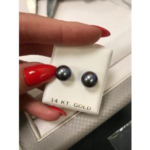 14K Yellow Gold 10mm Classic Purple Pearl Stud Earrings