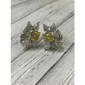 18K White Gold Fancy Yellow and White Diamonds Huggies Earrings 9.08cttw