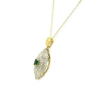 Rachel Koen 14K and 18K Gold Diamond 2.00cttw Emerald Pendant Necklace