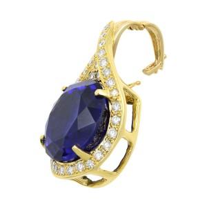 Rachel Koen Tanzanite 27.66ct Diamond 1.75ct Pendant Necklace 14K Yellow Gold