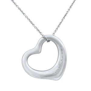 Tiffany & Co Elsa Peretti Platinum Pave Diamonds Open Heart Pendant