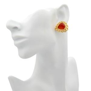 Hermes Vintage Sugarloaf Carnelian 18k Yellow Gold Earrings