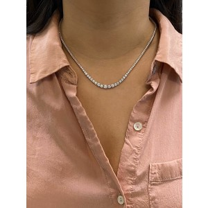 Rachel Koen 14K White Gold Diamond Rivera Necklace 7.57ct