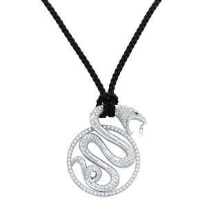 Boucheron 18K White Gold Diamond Emerald Trouble Snake Pendant 6.10cts