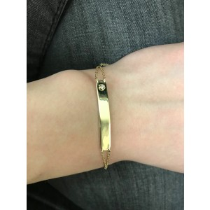 Rachel Koen Yellow Gold Plate Bracelet With Round Cut Diamond 0.02cttw