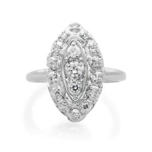 Vintage Diamond 14K White Gold Diamond Cocktail Ring 0.45 Size 5.25