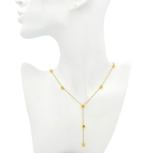 18K Yellow Gold Fancy Yellow Different Shapes Diamond By The Yard Necklace