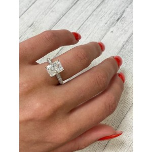 18K White Gold Radiant Pave Diamond Engagement Ring 2.53cts Size 6.5