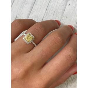 Rachel Koen 18K White Gold Fancy Yellow Diamond Ring with Halo 1.36cts Size 6.5