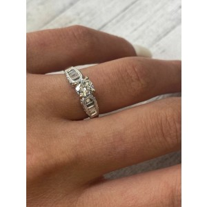 Rachel Koen 18K White Gold Round & Baguettes Engagement Ring 1.03 cts