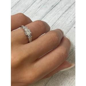 Rachel Koen 14K White Gold 1.15cttw Diamond Princess Cut Engagement Ring SZ7