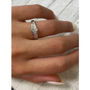 Rachel Koen 14K White Round and Baguette Diamond Engagement Ring 0.75cts