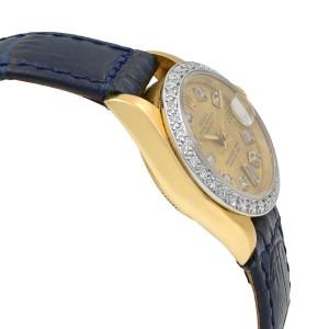 Rolex Datejust Diamond Champagne Dial 18K Gold Automatic Ladies Watch 69278