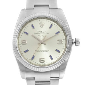 Rolex Air-King Steel 18K White Gold Silver Dial Automatic Unisex Watch 114234