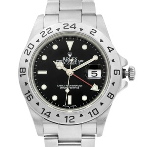 Rolex Explorer II Stainless Steel Black Dial No Holes Automatic Mens Watch 16570