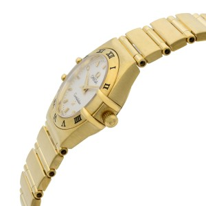 Omega Constellation Solid 18k Yellow Gold 23mm White Dial Quartz Ladies Watch