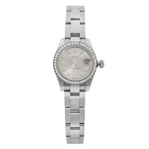 Rolex Datejust 26mm Steel Gold Diamond Bezel Silver Dial Ladies Watch 179384