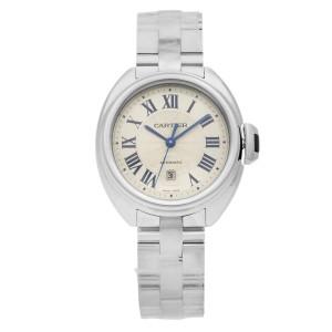 Cle De Cartier Steel Silver Guilloche Roman Dial Automatic Ladies Watch WSCL0005