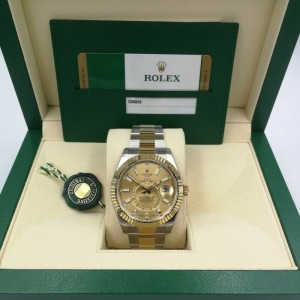 Rolex Sky-Dweller Champagne Dial Steel Yellow Gold Automatic Mens Watch 326933