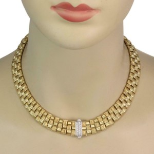 Roberto Coin Appassionata Diamond 18k Gold Basket Weave Necklace