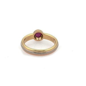 Cartier 18k Tricolor Gold Ruby Solitaire Stack Band Ring Size 52-US 6
