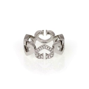 Cartier Double C Diamond 18k White Gold Hearts Band Ring Size 49 US 5 Paper