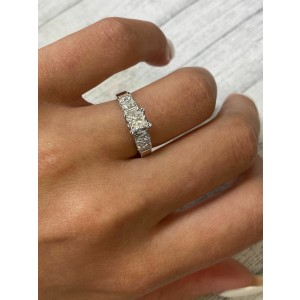 Rachel Koen 18K White Gold Princess Cut Diamond Engagement Ring 1.00 ct.t.w.