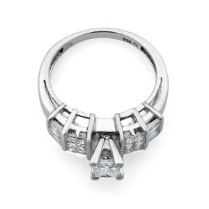 Rachel Koen 14K White Gold Princess Cut Diamond Engagement Ring 0.40cts Size 7