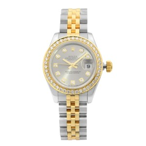 Rolex Datejust 18K Gold Steel Diamond Slate Dial Automatic Ladies Watch 179173
