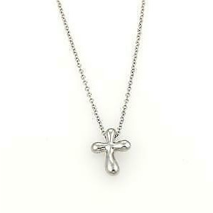 Tiffany & Co. Peretti Platinum Mini Cross Pendant & Chain Necklace
