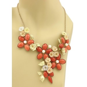 Retro 18k Tricolor Gold Coral & Pearls Large Floral Necklace