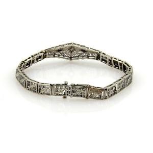 Art Deco Diamonds & Sapphire 14k White Gold Filigree Floral Bracelet