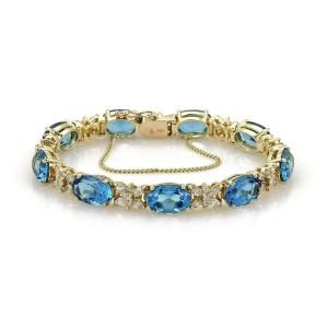 Estate 75.5ct Blue Topaz & Diamond 14k Yellow Gold Oval & Star Link Bracelet