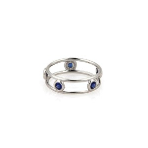Tiffany & Co. Peretti Sapphire By The Yard Platinum Band Ring Size 5