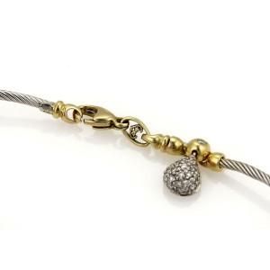 Philippe Charriol 1ct Diamonds 18k YGold Steel Cable & Tear Drop Charm Bracelet