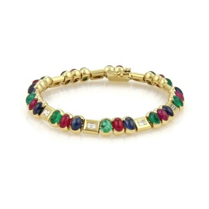 Estate 14.80ct Diamond Emerald Sapphire & Ruby 18k Yellow Gold Bracelet
