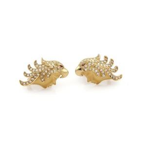 Carrera y Carrera Diamond & Ruby Eagle Headdress Woman Screw Back Earrings