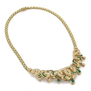 18k Yellow Gold 5ct Diamond & Emerald Fancy Floral Drape Necklace