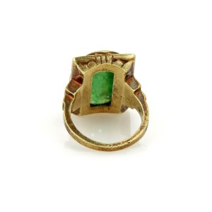 Antique Carved Jade 14k Yellow Gold Coral Inlay Floral Ring