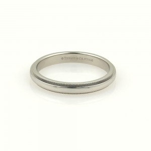 Tiffany & Co. Platinum Double Milgrain 4mm Wide Wedding Band Ring Size 7.75