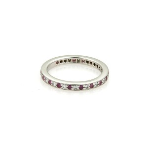Tiffany & Co. Pink Sapphire Platinum Milgrain Eternity Band Ring Size 5