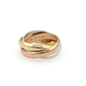 Cartier Trinity 18k Tri-Color Gold 3.5mm Rolling Band Ring Size 51-US 5.75