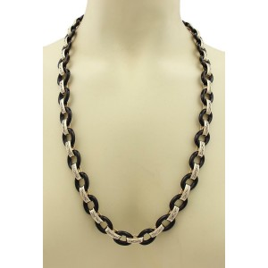 """Vintage 2.12ct Diamond Onyx 14k Two Tone Oval Link Long Necklace 28"""""""