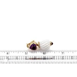 Bvlgari Bulgari CHANDRA Ceramic Tourmaline & Amethyst 18k Gold Dangle Earrings