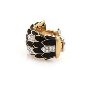 Roberto Coin Diamond Enamel 18k Gold Feather Design Huggie Earrings