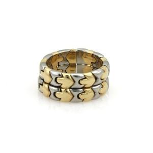 Bvlgari Bulgari PARENTESI 18k Yellow Gold & Steel Double Stack Flex Band Ring
